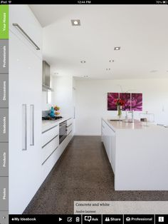 Grey floor, white walls and kitchen Simple