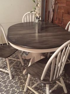 Snow White Milk Paint with Pitch Black Glaze Effect Dining Set | General Finishes Design Center