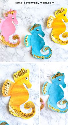 # This paper plate seahorse craft for kids is an easy summer activity for kids to do at home. This art project combines painting glitter and scissor skills so it's actually helping kids learn skills and increase creativity! Perfect for prescho Mothers Day Crafts For Kids, Easy Crafts For Kids, Summer Crafts, Diy For Kids, Craft Kids, Simple Crafts, Seahorse Crafts, Sea Crafts, Nature Crafts