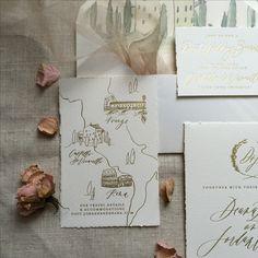 Destination wedding invitations / Tuscan invitations / gold foil invitations / handmade paper invitations / writtenwordcalligraphy.com custom invitations