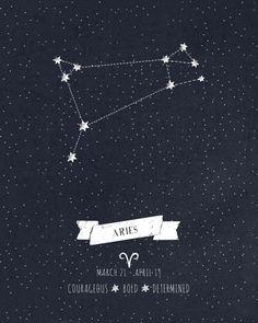 Aries Constellation Print Art Print by Angelina Perdomo