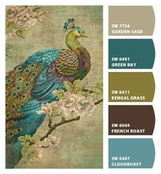 Paint colors from Chip It! by Sherwin-Williams - peacock color palette inspiration Paint Schemes, Colour Schemes, Color Combos, Office Color Schemes, Wall Colors, House Colors, Peacock Paint Colors, Peacock Color Scheme, Vintage Paint Colors