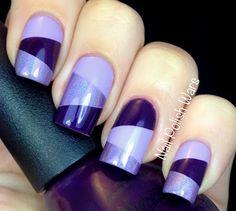 Lilac, mid-purple holo and deep indigo tape mani.     26 Glamorous Nail Art Designs