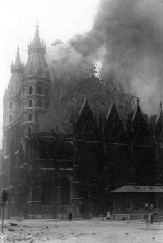 "viennacalls: "" The of April, 1945 – The St. Stephen's Cathedral in Flames. Archiv Waagner-Biro A c Louie Diana "" Dark Castle, Earth From Space, White Horses, Vienna Austria, Black And White Pictures, The St, Kirchen, Thing 1 Thing 2, Old Pictures"