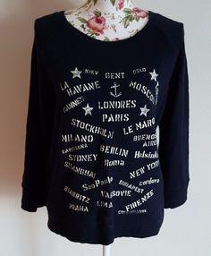 J.Crew Women's Size Small Port of Call Sweatshirt Black EUC 100% Cotton 97897 #JCrew #SweatshirtCrew