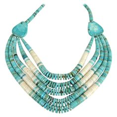 Native American Turquoise Clam Shell 5 Strand Heishi Necklace Sterling silver | From a unique collection of vintage Beaded Necklaces at https://www.1stdibs.com/jewelry/necklaces/beaded-necklaces/.