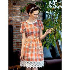 TS Vintage Grid Lace Hem Dress - USD $ 25.99