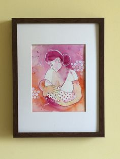 Nursery décor for baby girl room, mom and baby bonding, art print from watercolor painitng