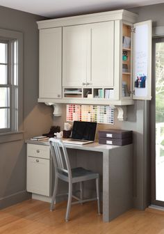 Consider adding a desk workspace to your kitchen, like this one at Martha Stewart's Bedford, NY home.