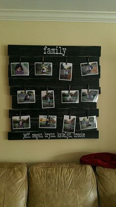 Made out of wood pallets and painted!  I really want to do something like this, it would making swapping out photos so much easier!!