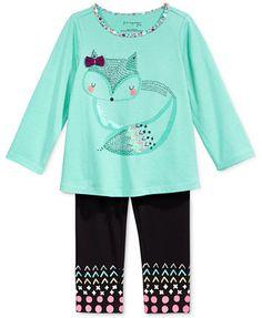 First Impressions Baby Girls' Graphic-Print T-Shirt & Mixed-Print-Hem Leggings, Only at Macy's    macys.com