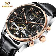 73.01$  Buy here - http://alitqb.worldwells.pw/go.php?t=32769957549 - BINSSAW Luxury Mechanical Watch Men Calender Automatic Sport Wrist Watch Business Tourbillon Men Watch Male Clock Chronograph