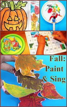 """Fall Play and Art: Our 4 Favorites for September. """"Scarecrow in the Garden"""" paper plate decoration, painting some fun pumpkins (playful reading activity), painting fall leaves for a pretend play and a song, playing with a farm puzzle - introduction to counting for preschoolers."""