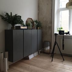Black painted Ikea 'Ivar' hanging cabinets @srosenborg