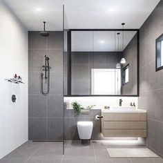 Contemporary & refreshing Grey bathroom with elements of timber, Greenery & monochrome details. Render by @grandvisuals for two57. #bathroominspiration #bathroom #minimalistinteriors