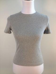 @VERSACE Gray Stretch Ribbed Tee Sz S Designer Summer Knit Top Shirt T-Shirt $18.99 #dodiesdoodads #versace #designerdeals #fashionfinds