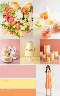 Paleta de cores: rosa (rosê), amarelo (manteiga) e laranja (melão)