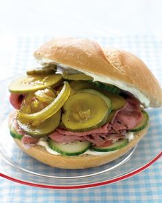 Roast Beef Sandwich with Cukes and Pickles .