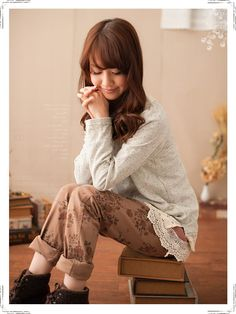 antiqued floral design pants   forest girl, mori girl