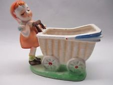 Vintage Pottery Planter Girl w/ Baby Buggy~Japan