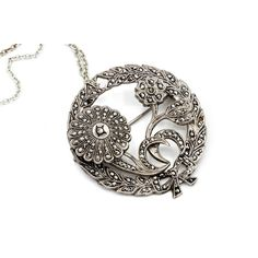 Marcasite Flower Pendant Necklace, Antique 30 Jewelry, Art Deco... ($75) via Polyvore featuring jewelry, vintage antique jewelry, chain pendant necklace, vintage jewelry, pendant necklace and sterling silver pendant necklace