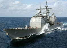 Caribbean Sea (April 20 2006) - The guided-missile cruiser USS Monterey (CG 61) prepares to conduct a fueling at sea (FAS) with Nimitz-class aircraft carrier USS George Washington (CVN 73). George Washington Carrier Strike Group is currently participating in Partnership of the Americas a maritime training and readiness deployment of the U.S. Naval Forces with Caribbean and Latin American countries in support of the U.S. Southern Command (SOUTHCOM) objectives for enhanced maritime security…