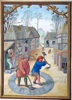 In einem Kalender sind im Monatsbild November ein Taubenschlag sowie einfache Ställe zu erkennen. Flämisches Stundenbuch und Kalender, um 1515, Brüssel; Pierpoint Morgan Library, MS M.399 fol. 12v.