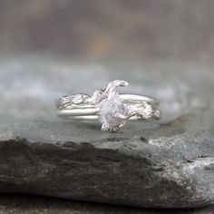 Raw Uncut Diamond Twig Ring With Matching by ASecondTime on Etsy, $350.00