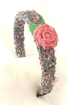 Handmade Hair Accessory, Crochet Headband, Rose Accent, Pink Teal, Textured Finish, UNIQUE, OOAK by SophiesAgora on Etsy