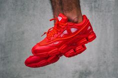 http://chicerman.com  billy-george:  Raf Simons x adidas Consortium Ozweego 2 Red  The Raf Simons Stan Smiths were pretty sick but now Mr Simons has hit back with adidas again to release the red Oswego 2 silhouette for SS15. This shoe is reminiscent of the 90s and features red synthetic and mesh upper with translucent bubbles. The matching red Adiprene midsole Adiwear outsole and red laces bode well with the Raf Simons embossed tongue and sublet 3 stripes on the heel.  #streetstyleformen