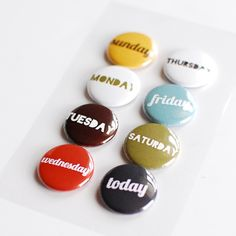 2-Day Hooray Days of the Week Flair Buttons