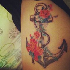 Flowers & anchor tattoo -  #tattoo