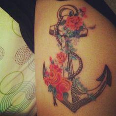 Flowers & anchor tattoo -  #tattoo