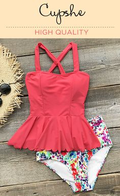 Live life on the beach! The top back is crossed and finished with a falbala hem. The floral bottom with high waist is designed for a flattering look. Throw on over your swimsuit for a day in the sun!