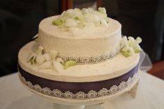 Orchids on a butter cream cake by the Kake Lady Ottawa ON