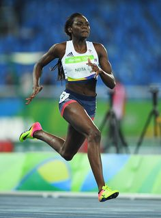 #RIO2016 Daryll Neita of Great Britain competes during the Women's 100m Round 1 on Day 7 of the Rio 2016 Olympic Games at the Olympic Stadium on August 12...