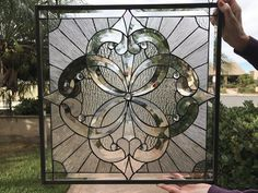 """""""Pacifica"""" All Clear Beveled Cluster Stained Glass Window (we do custom work, email me for quote) Stained Glass Rose, Making Stained Glass, Stained Glass Panels, Stained Glass Projects, Stained Glass Patterns, Leaded Glass Windows, Window Glass, Leadlight Windows, Glass Door"""