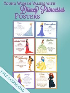 Young Women's Values with Disney Princesses Poster Free Download
