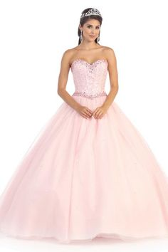 SWEETHEART NECKLINE CORSET BALL GOWN RHINESTONES AND BLING