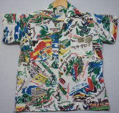 50's Rayon Shirt Hawaiian Tropical Dead Stock Shirt Medium ilhPF0rV5