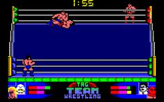 American Tag Team Wrestling for Amstrad CPC (Zeppelin, 1992). Also published on ZX Spectrum, C64 and Amiga. The C64 and Amiga versions highly differs from the CPC version. Pro wrestling game.