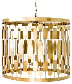 Worlds Away Leona Gold Leaf Pendant - transitional - Chandeliers - Matthew Izzo