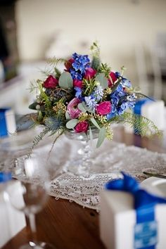 Pink and blues for a table