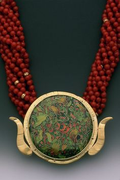 """Lundell:  Flora-2"""" diameter, 24,22,14 K. Gold, Coral and 14 K. Gold Beads"""