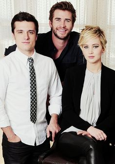 Jennifer Laurence, Josh Hutcherson and Liam Hemsworth @ Catching Fire Press Conference ;