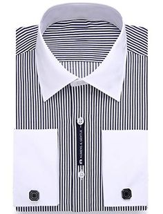 Cotton + Polyster Made in USA or Imported Italy Design Contrast Collar French Cuff Dress Shirts; French Cuff Dress Shirts, Fitted Dress Shirts, Shirt Dress, African Dresses Men, Elegant Cocktail Dress, Contrast Collar, Dress Brands, Fitness Fashion, Black Men
