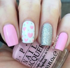 Simple Baby Pink and Silver Valentine's Day Nails