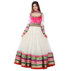 1 white anarkali with border embroidery dress Anarkali Frock, White Anarkali, White Churidar, Indian Fashion Dresses, India Fashion, Women's Fashion, Pakistani Outfits, Indian Outfits, Indian Clothes