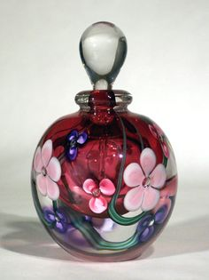 *ROGER GANDELMAN ART GLASS:  Perfume Bottle Floral Red interior.  He has been a glass artist for 30 yrs, specializing for most of that time in creating the most exquisite art glass perfume bottles I have seen! His work is displayed in museums + museum shops around the country...