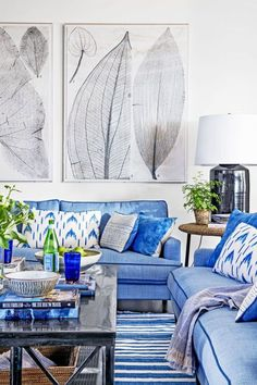 Coastal living room decorated with blue hues